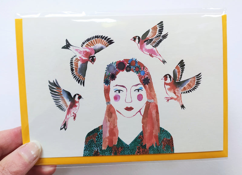 Illustrated card - woman with goldfinches