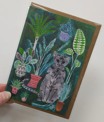 Illustrated cat and plants card