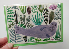 Illustrated card - seal and seaweed