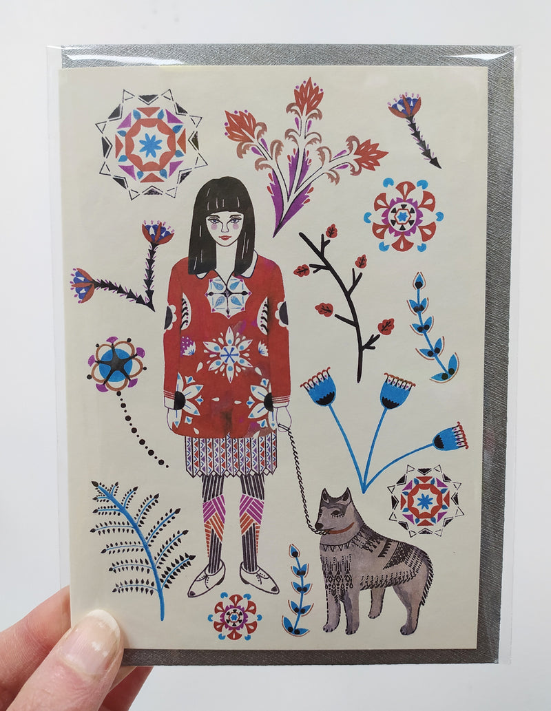 Illustrated card - girl and husky