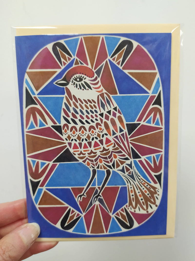 Illustrated card - geometric bird