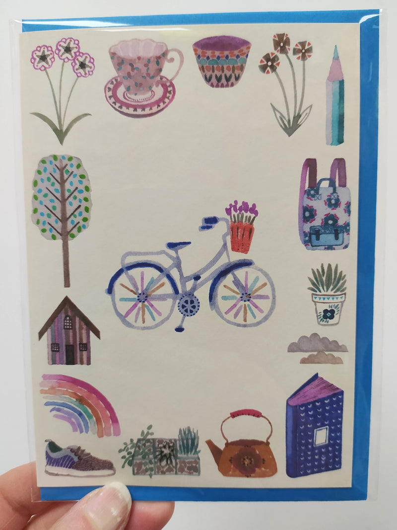 Illustrated card - cycle path