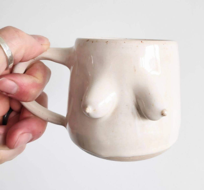 Hand thrown boob mug - 2 colours available