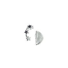 Stud earrings – Sterling Silver moon & stars