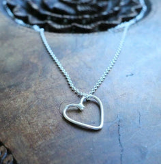 Sterling silver outline heart necklace