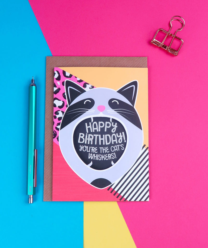 Happy birthday! You're the cat's whiskers! card