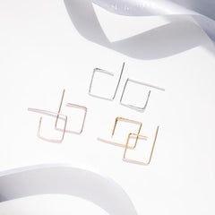 Hoop earrings – square hammered (Sterling Silver or 18ct yellow gold vermeil)