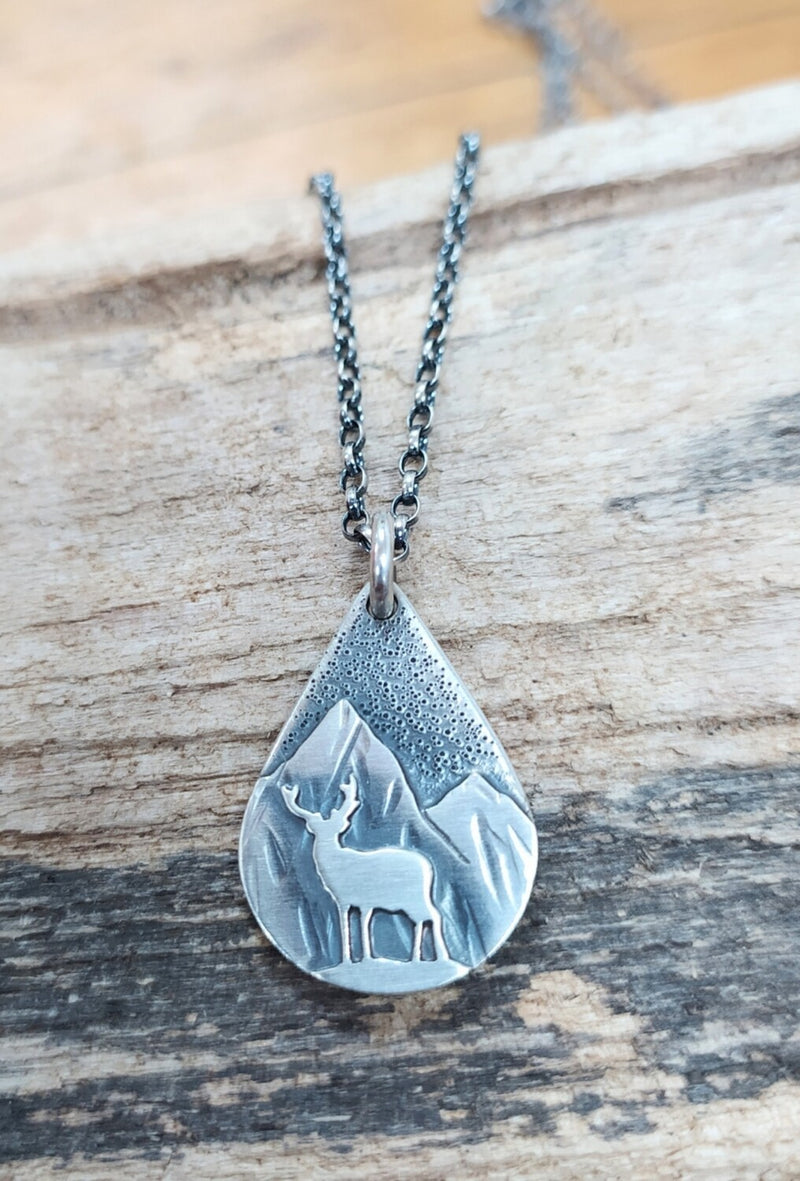 Sterling Silver Highland stag and mountains necklace