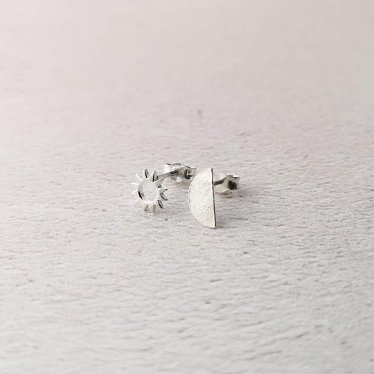 Stud earrings – Sterling Silver sun and moon