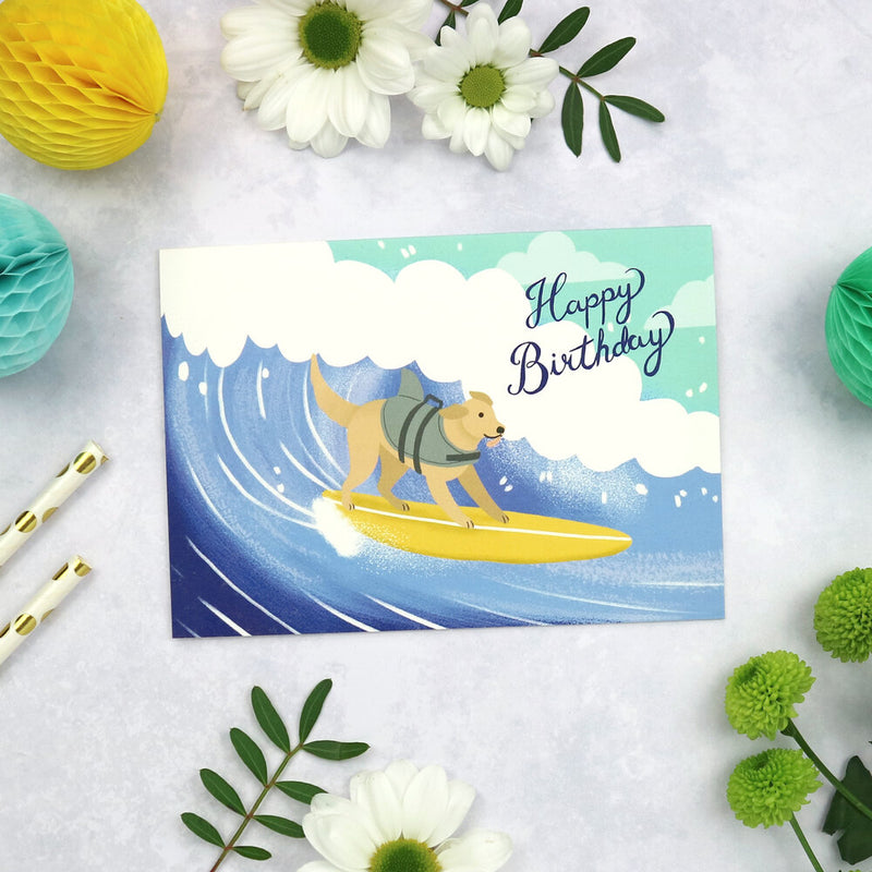 Happy birthday - surfing dog card