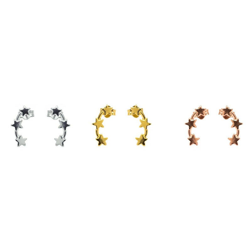 Stud earrings – triple stars (Sterling Silver, Rose Gold Vermeil and Yellow Gold Vermeil)