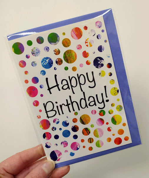 Happy birthday - spots/white background card