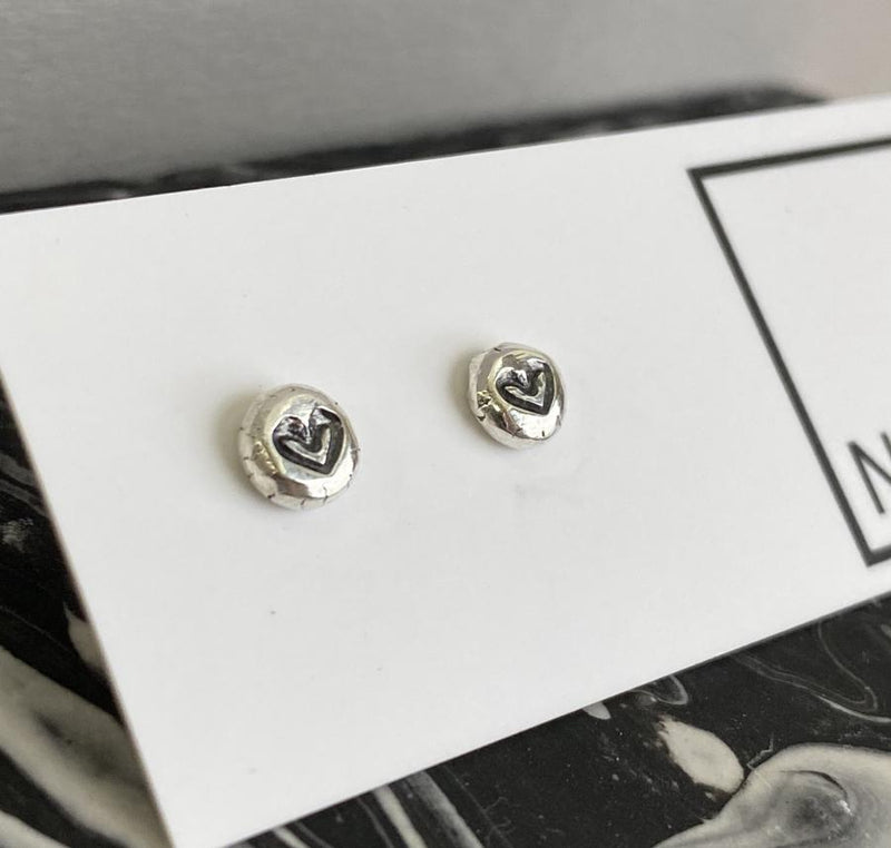 Sterling silver stamped heart nugget studs