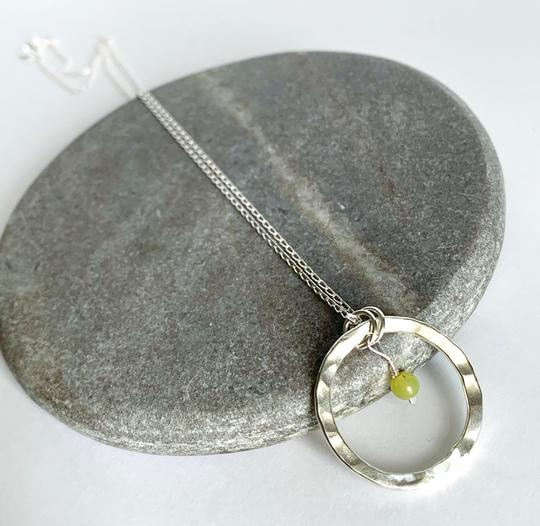 Sterling silver necklace with Lemon Jasper