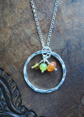 Sterling silver 'Sunshine' necklace with Carnelian, Lemon Jasper and Citrine