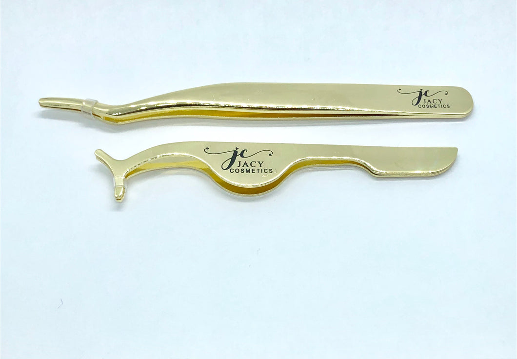 GOLD EYELASH TWEEZERS 2 Pcs