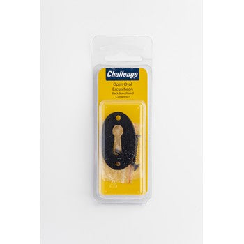 Open Oval Escutcheon - Black Wax