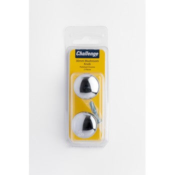 30mm Mushroom Knob - Polished Chrome