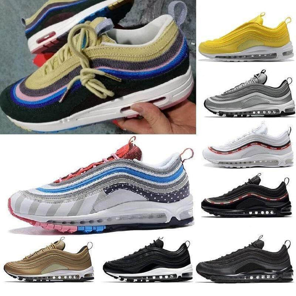 New Arrival 97 Mens Womens Running Shoes Cushion Silver Gold Sneakers Athletic Designers Sports Outdoor Shoes air SZ5.5 11