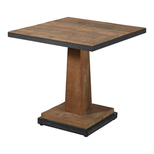 Industrial Reclaimed Pine Square Table - Metal Edging