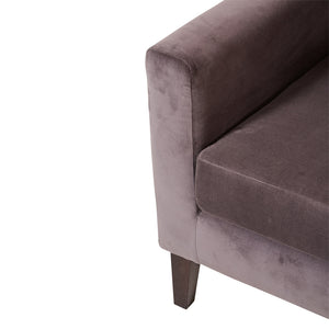 Contemporary Armchair in Smokey Purple Velvet