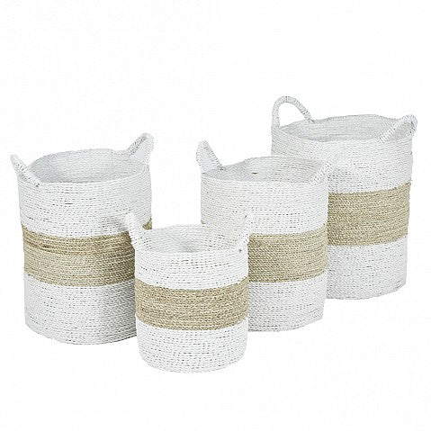 Seagrass Laundry Baskets - Natural / White