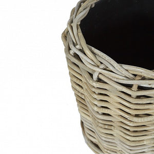 Round Wicker Planter Baskets - plastic inners