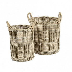 Round Wicker Baskets with Rope Handles
