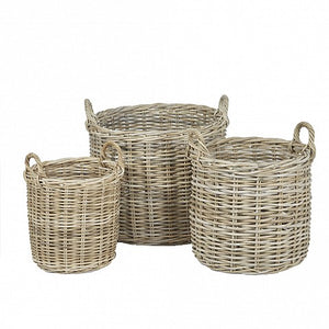 Round Wicker Baskets - Wicker Handle