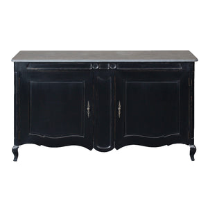 French Style Black Painted Sideboard - Stone Top