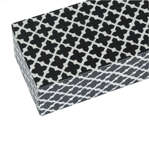 Bone Inlay White & Black Hex Pattern Box