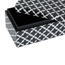 Load image into Gallery viewer, Bone Inlay White & Black Hex Pattern Box