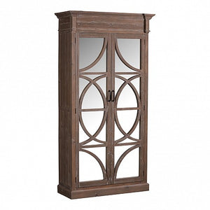Mirror door cabinet with semi circle inserts - grey wash