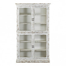 Load image into Gallery viewer, French country white painted cabinet - 4 mesh doors