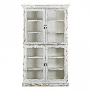 French country white painted cabinet - 4 mesh doors