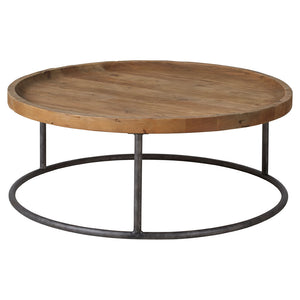 Round coffee table on metal legs