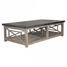 Load image into Gallery viewer, Coffee Table Grey Wash with Zinc Top