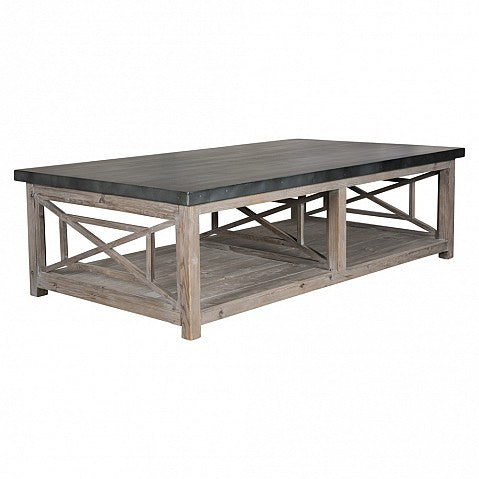 Coffee Table Grey Wash with Zinc Top
