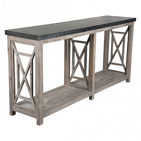 Console Table Grey Wash Zinc Top