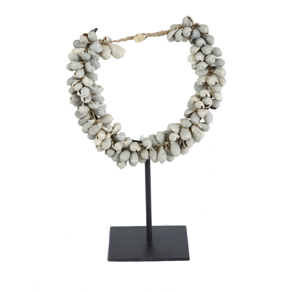 Grey Shell Cluster Necklace on Stand