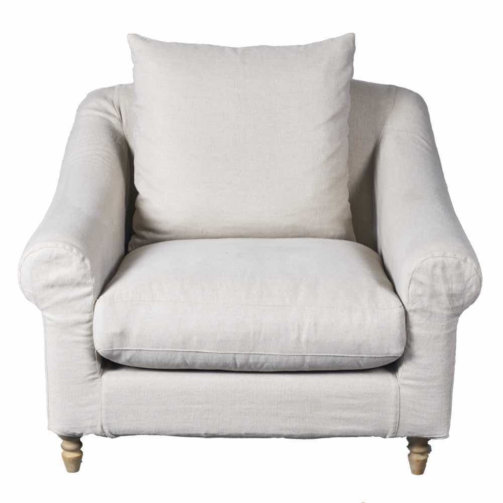 Armchair in natural linen with slip cover