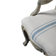 Load image into Gallery viewer, French Style Oak Armchair - Blue Stripe Linen