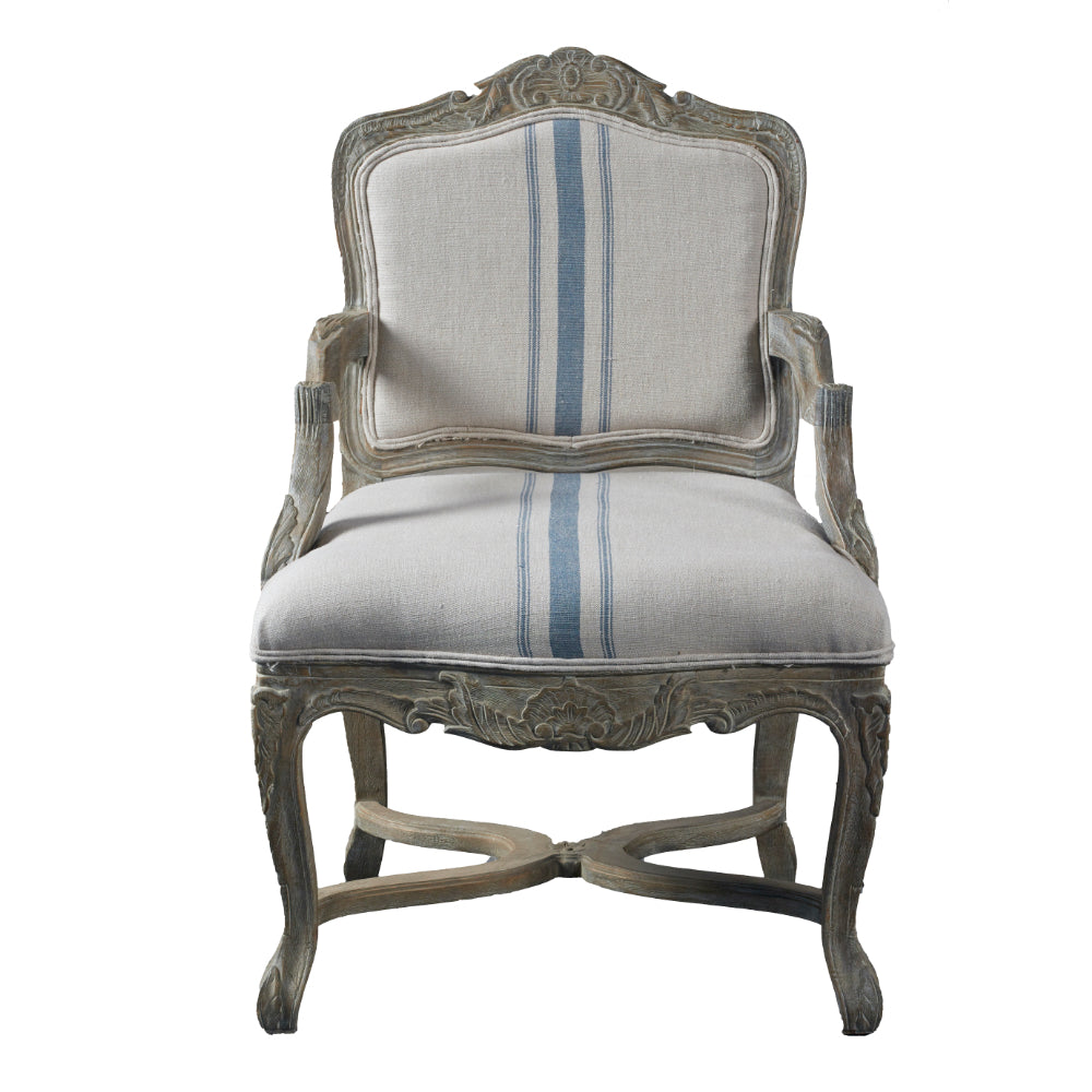 French Style Oak Armchair - Blue Stripe Linen