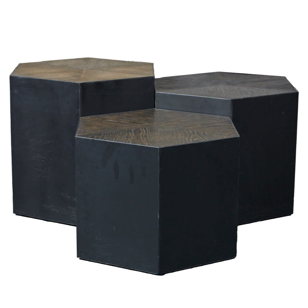 Hexagonal Side Tables with Brass Edging & Oak Top