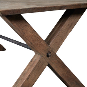 Industrial Style Oak Dining Table - X Leg