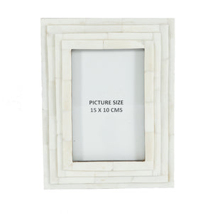 Bone Photo Photo Frame Stepped - 15 x 10 cms