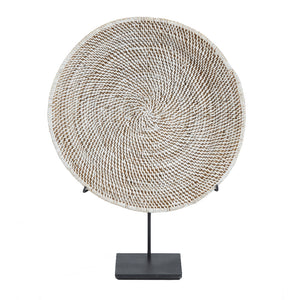 White Washed Rattan Plate on stand