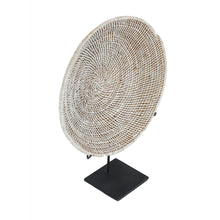 Load image into Gallery viewer, White Washed Rattan Plate on stand