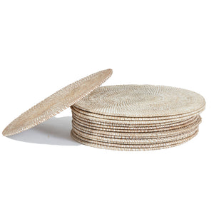 Round White Washed Rattan Placemat - Tight Weave