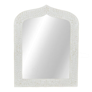Bone inlay mirror - cream